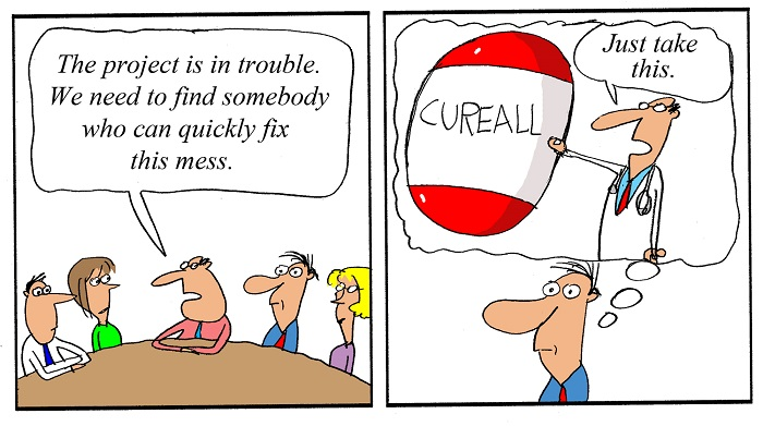 Humor - Cartoon: If it only was this easy to fix a Business Analysis project!