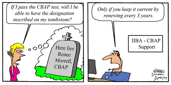 Humor - Cartoon: Where can I use the CBAP certification designation?