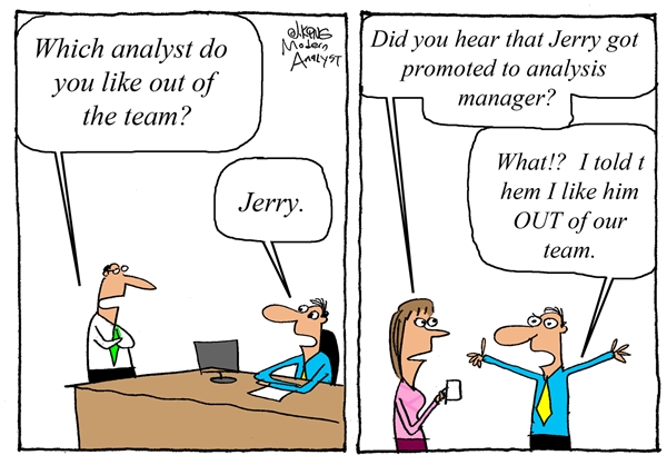 Humor - Cartoon: Business Analyst Promotion