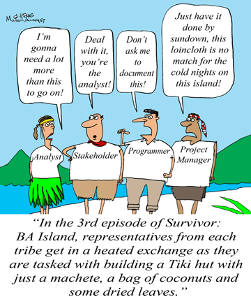 Humor - Cartoon: Survivor: Business Analyst Island Edition
