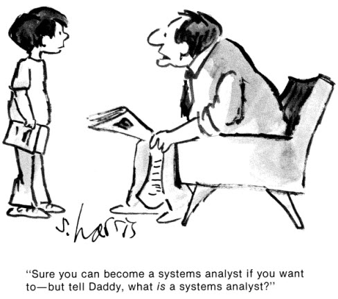 Humor - Cartoon: Can I become a Systems Analyst?