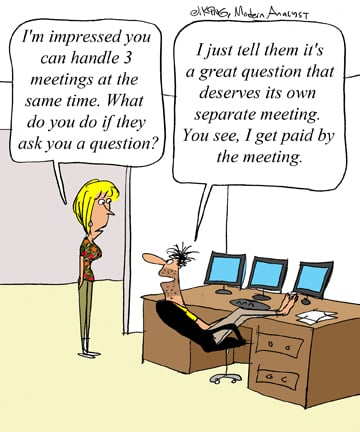 Humor - Cartoon: How Telecommuting Business Analysts Get Paid