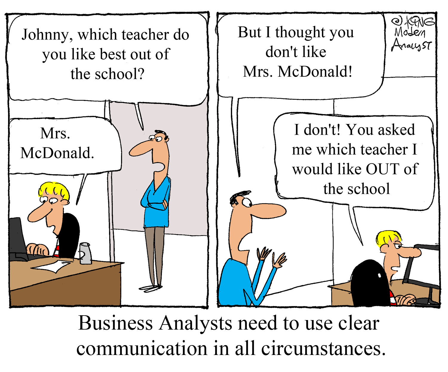 Humor - Cartoon: Business Analysts Need to Use Clear Communication - Always
