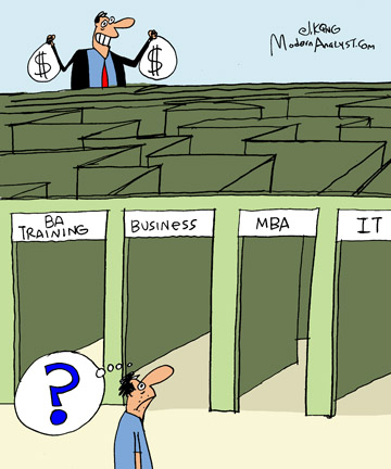 Humor - Cartoon: Find the path to Senior Business Analyst