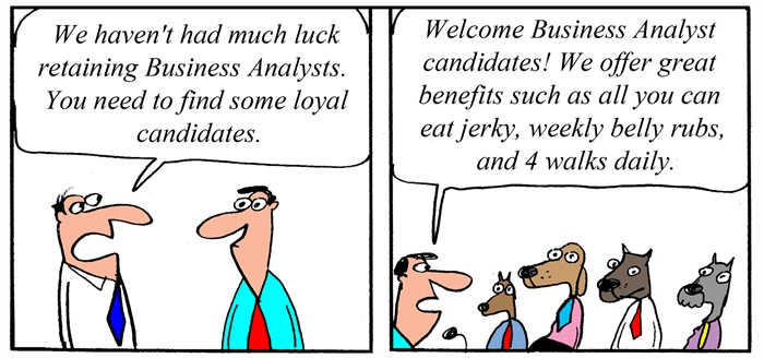 Humor - Cartoon: Benefits for Loyal Business Analysts
