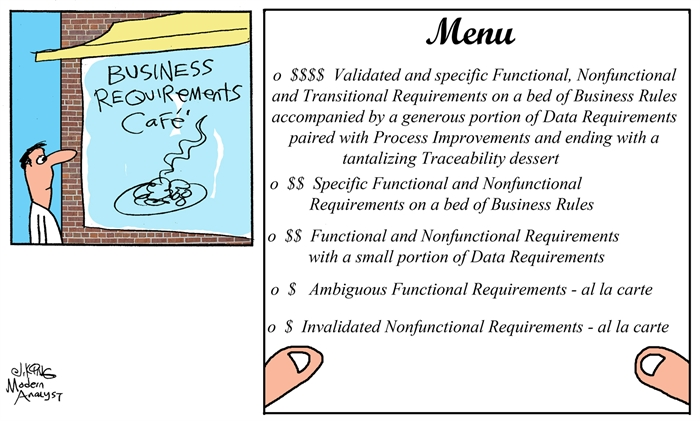 Business Requirements Cafe Menu