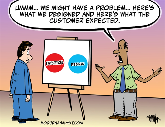 Humor - Cartoon: Customer Expectations vs. Product Design