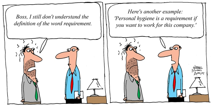 Humor - Cartoon: Definition of the Word Requirement