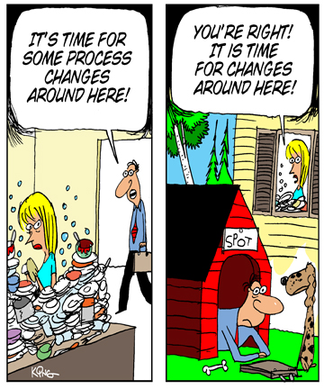 Humor - Cartoon: The Business Analyst and Process Improvement: From Dinner to the Dog House
