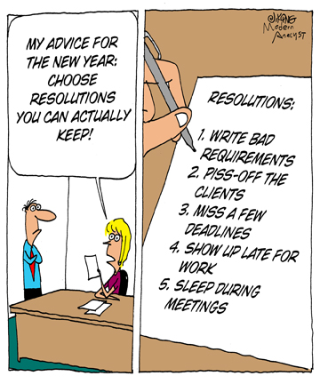 Humor - Cartoon: New Year's resolutions you can keep!  Happy New Year!